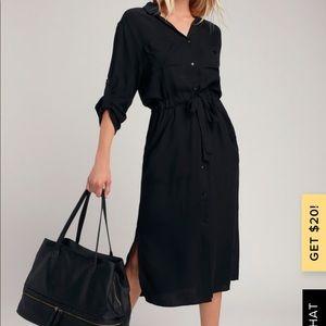 Lulu's BREWER BLACK MIDI SHIRT DRESS